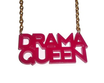 Drama Queen Necklace, Hot Pink Laser Cut Pendant Gold Chain