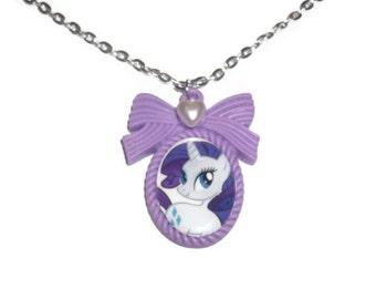Rarity Cameo Necklace, Kawaii MLP Purple Pendant, Friendship is Magic