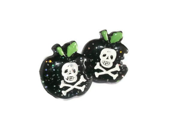 Poison Apple Earrings, Black Glitter and Skulls, Stainless Steel Ear Studs