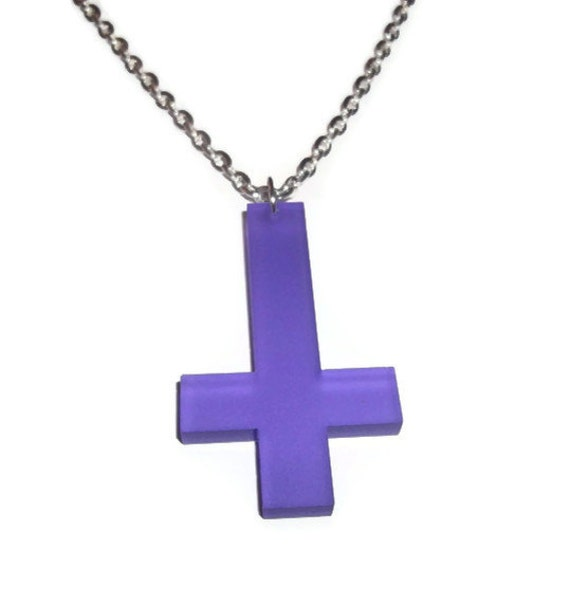 Purple Inverted Cross Necklace, Frosted Acrylic Upside Down Cross