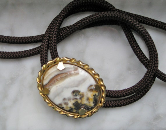 Vintage Bolo Tie Brown Cord with Multi Colored Stone in Faux Gold