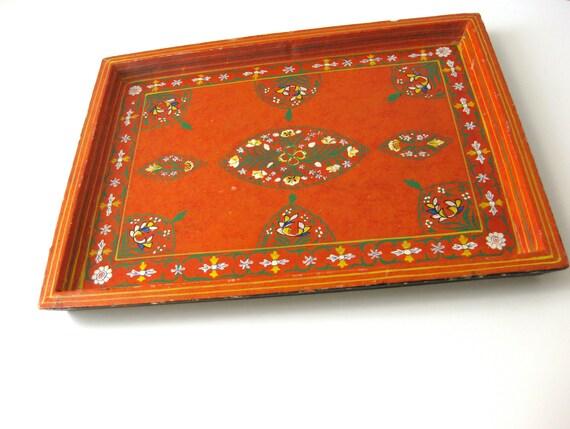 Vintage Handpainted Tray Rectangular Orange, Green, Yellow, White Flowers Ornate