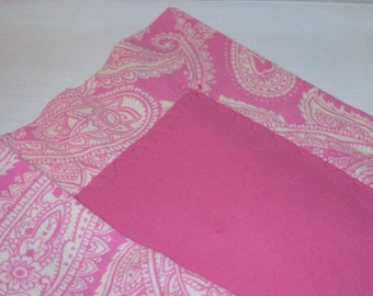 """SALE - 32"""" x 32"""" Baby Receiving Blanket in Flannel with Pink Front and Pink Paisley Print Back and 2"""" Border"""