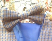 plaid blue and yellow color little boys bow ties  Qty 1