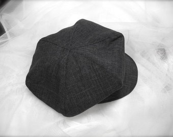 CHARCOAL grey newsboy hat, beret for boys, Great Gatsby hat