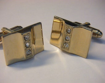 Vintage Gold Tone Cuff Links with Rhinestones
