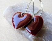 Dangle Drop Earrings - Burgundy Red Epoxy Enamel Hearts - Sterling Silver Plated over Brass (F-1)