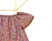 Girls Peasant Dress / Vintage Cotton /  Deep Purple Calico  /  0-6 months or 6-12 months