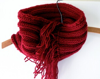 Red Knitted Fringed Cowl- Circle Infinity Scarf- Winter Accessory-Worsted Weight- Ready To Ship- Pattern Available