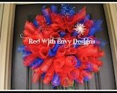 Fourth of July Wreath, Spiral Wreath, 4th of July Wreath, Wreath, Deco Mesh Wreath, Curly Wreath, Patriotic Wreath, RAZ, RAZ Wreath