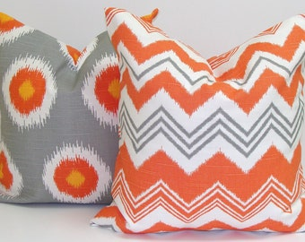 Pillows.ORANGE PILLOW SET.18X18 inch.Pillow Covers.Decorative Pillows.Housewares.Home Decor.cm..ZigZag.Cm.Toss Pillow Covers.Cushions.Throw