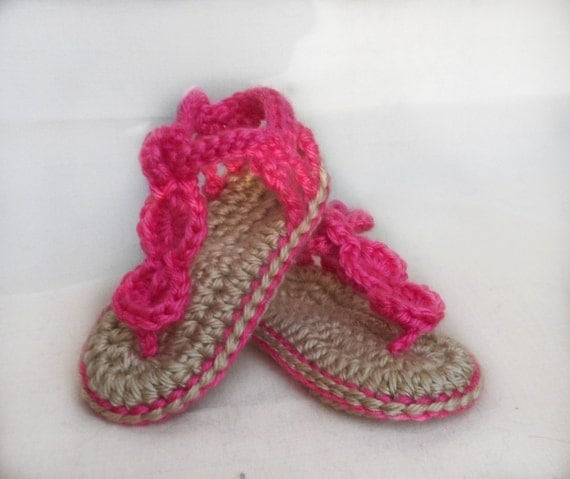 Baby Beach Sandals - Crocheted Baby Shoes - 0 to 18 month sizes available - MADE TO ORDER