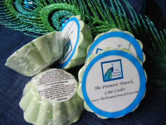 lime cooler scented soy wax melting tarts green