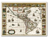 America Nova Tabula from 1639, Vintage World Map printed on parchment paper