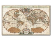 "26x16"" World Map from 1691, two pieces vintage world map printed on parchment paper, Nursery room decor, Cabinet decor"