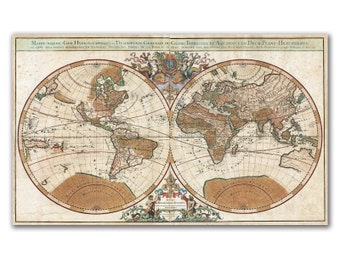 "26x16"" World Map from 1691, two pieces vintage world map printed on Photo paper or Canvas , Nursery room decor, Cabinet decor"