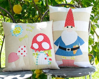 Rosies Garden & the Gnome Applique cushion PDF Patterns