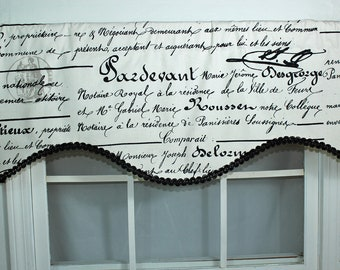 French script curtain valance with or without decorative gimp trim