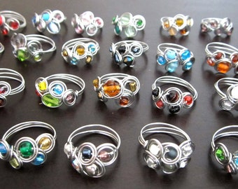 Assorted wire wrapped rings by the dozen (wholesale)