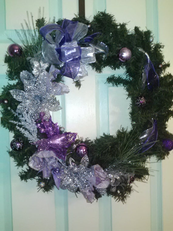 Purple and silver pine wreath, non-traditional holiday wreath, purple and silver christmas wreath
