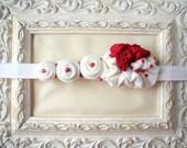Red white hairband fabric flower matching headband - girl newborn baby child - handmade - ready to ship