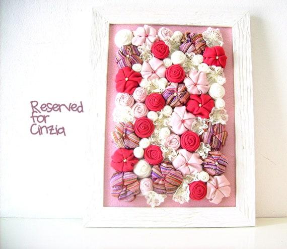 Nursery fabric flower framed art 3D  design home decor - pink fuchsia white - OOAK spring bouquet