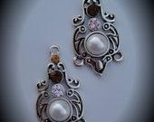 Genuine Silver Plated Swarovski Crystal Chandelier Earrings With Pearls