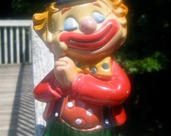 "Vintage Plastic Clown Coin Bank, 7.5"" tall - Made in Hong Kong"