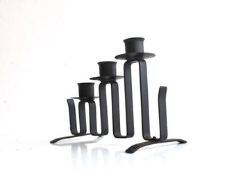 Black Candle Holder - Vintage Mid Century Home Decor