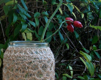 Vase or Candle Holder with Crocheted Overlay in Jute Twine