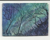 ACEO - Woodland at Night - Original Watercolour  Painting