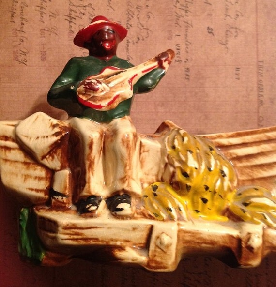 McCoy Pottery Black Americana Banana Boat Planter 401 Calypso Line