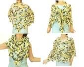 Handmade Crochet shawl, Floral pattern, Triangle, Handmade shawl, Grey/White/Yellow transitive