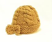 Knitted hat, Cable Knit Hat, Knitting yellow, beige hat, Caramel hat, Knitting hat, Chic hat, Handmade hat, Beanie, Gift ideas for her