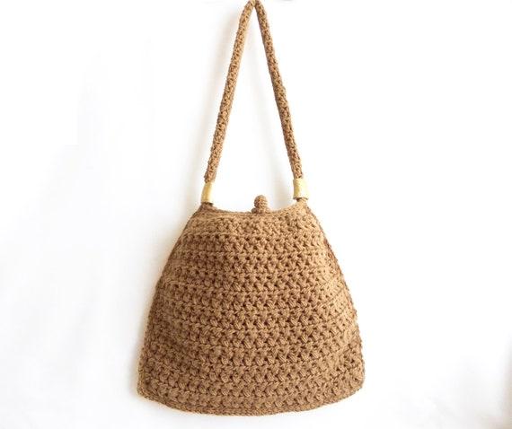 Caramel crochet tote bag- Handmade crochet handbag- Unique handbag- Useful handbag- Pouch- Stylish handbag