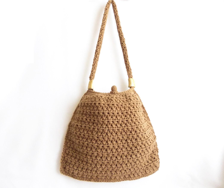 Handmade Crochet Bags : Caramel crochet tote bag Handmade crochet handbag by aynikki
