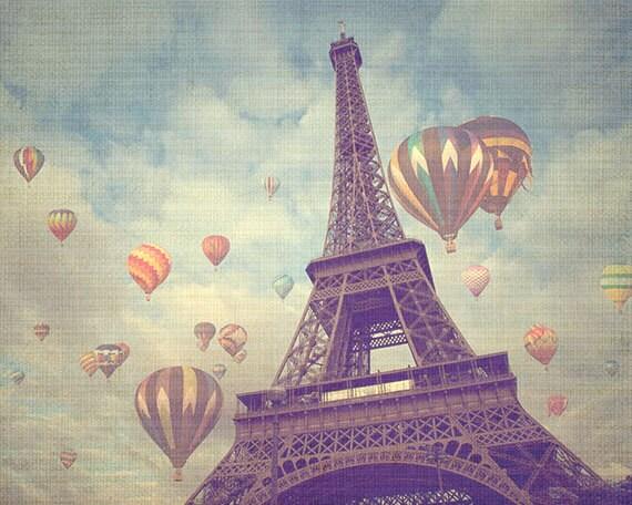 Paris Photograph, Eiffel Tower, Hot Air Balloons, Whimsical, Travel Photography -  fine art photograph