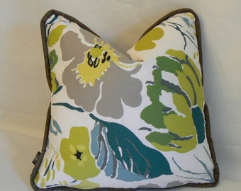 Pillow 26: Modern floral print pillow cover with insert. 16 inch square.