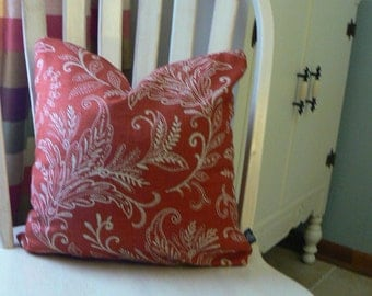 Pillow 34: red and cream foliage pattern pillow cover with insert.  18 inch square