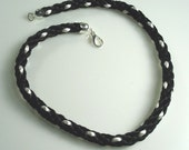Black and Shimmery White Satin Kumihimo Spiral Braided 20 Inch Necklace