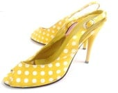 Yellow Polka Dot Heels Size 8