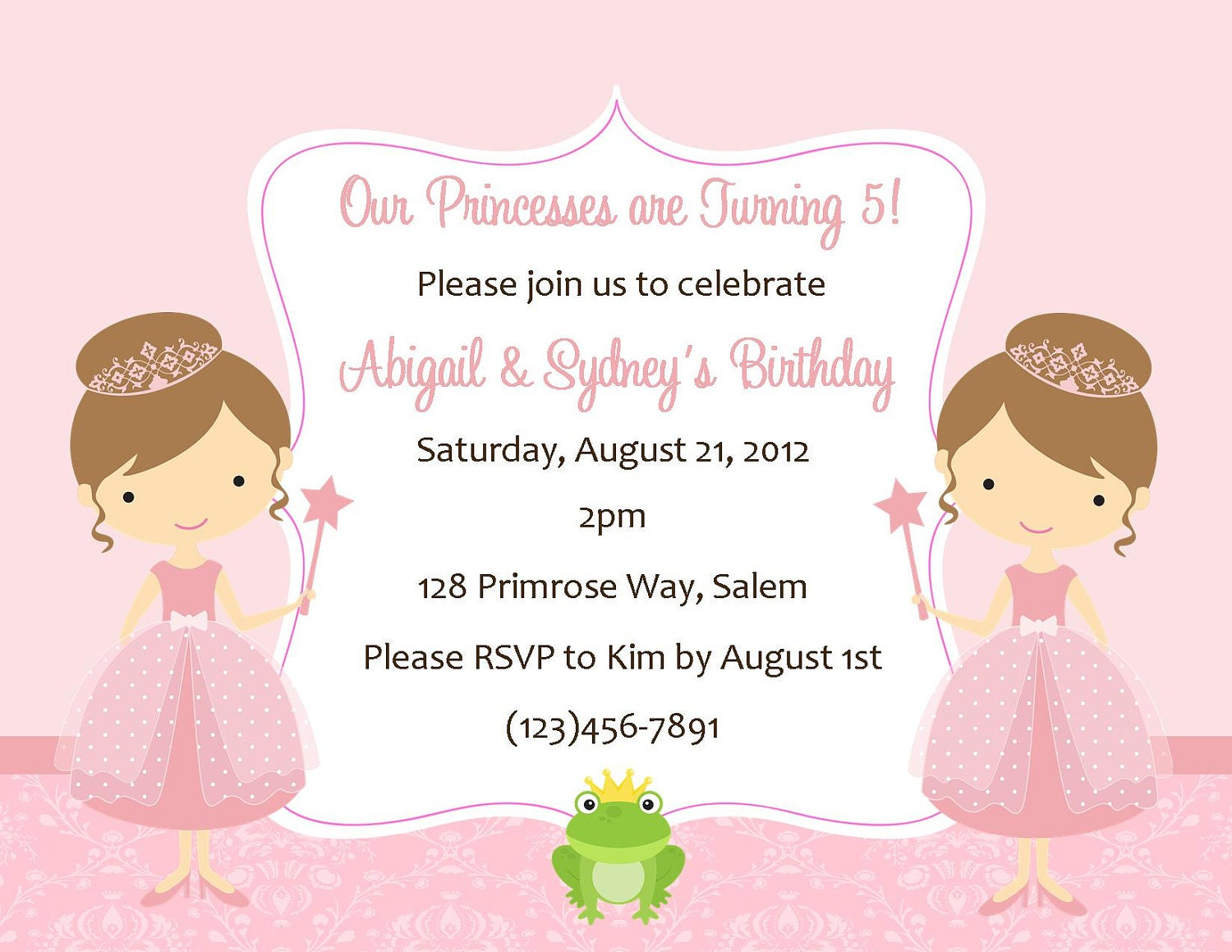 Twin Princess's Birthday Invitation Digital File