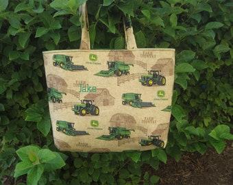 Boys Tote Bag, Fabric Tote Bag, 'John Deere' Bag - FREE PERSONALIZATION