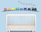 Train Baby Boy Wall Decal - Train over 6 ft wide - Nursery Wall Decal - Train Wall Art