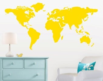 Large World Map Wall Decal with Dots and Stars to mark countries - 7 feet wide world map decal