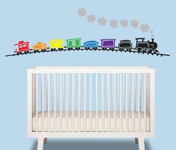 Train Baby Boy Wall Decal - Train over 6 ft wide - Nursery Wall Decal -