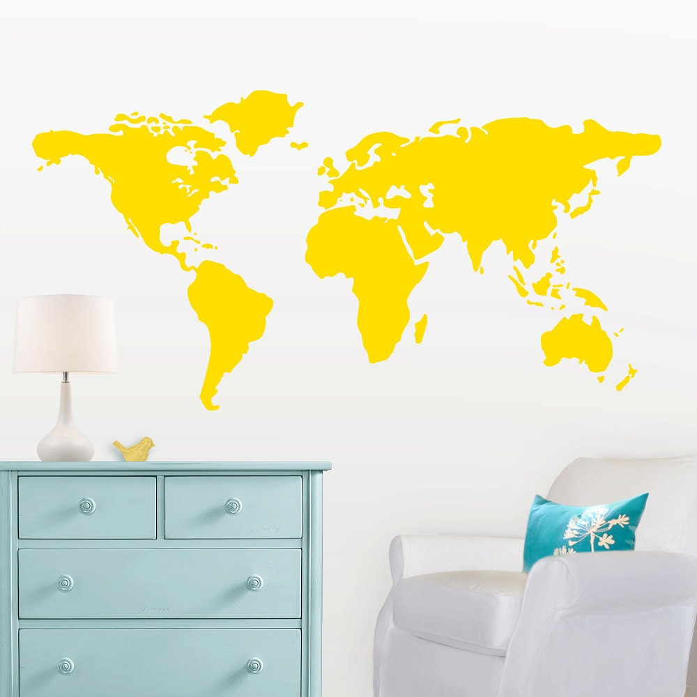 large world map wall decal with dots and stars to mark. Black Bedroom Furniture Sets. Home Design Ideas