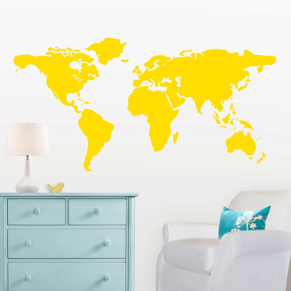 Large World Map Wall Decal with Dots and Stars to mark