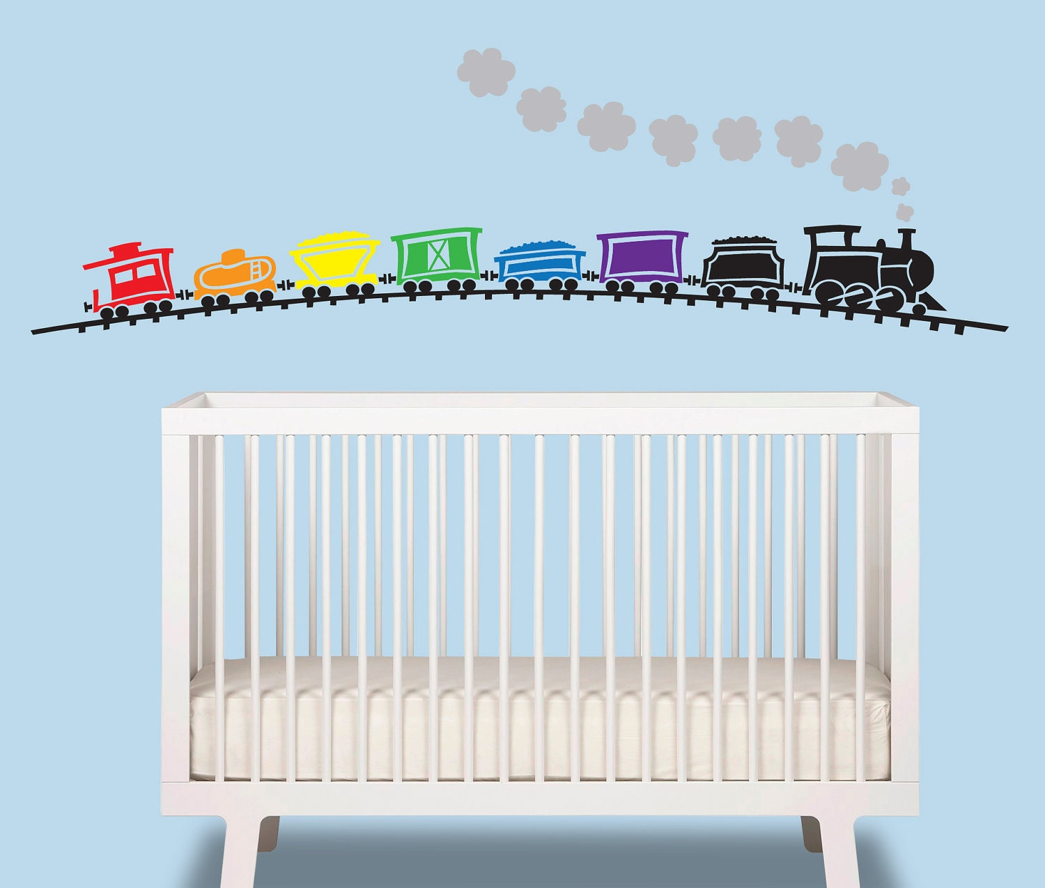 Train baby boy wall decal train over 6 ft wide nursery for Baby boy wall mural