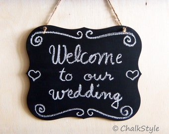 Chalkboard Scroll Wedding Wooden Chalk Board Wedding Sign Photo Prop Menu Table Centerpiece Chair SIgn